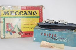 BOXED MECCANO SET NO 5 TOGETHER WITH A VOSPER MODEL OF A MOTORBOAT