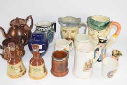 CERAMIC ITEMS INCLUDING CHARACTER JUGS, BELLS SCOTCH WHISKY BELLS, GINGER JAR AND COVER ETC