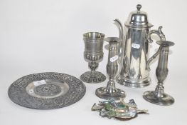 PAIR OF CHROME COLOURED CANDLESTICKS AND A PEWTER COFFEE POT
