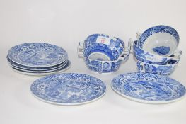 SET OF COPELAND SPODE ITALIAN PATTERN DESSERT DISHES AND STANDS