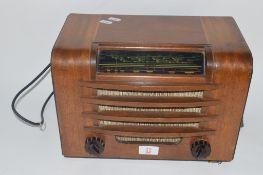 MID-20TH CENTURY FERGUSON RADIO IN WOODEN FRAME WITH BAKELITE KNOBS