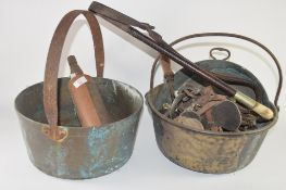 OLD BRONZED METAL BUCKET WITH RIDING CROP AND VINTAGE MORRIS FIRE EXTINGUISHER
