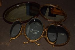 LARGE MIRROR IN OVAL FRAME AND TWO FURTHER MIRRORS IN GILT FRAMES (3)