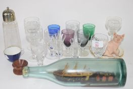 QUANTITY OF SMALL GLASSES AND CERAMIC ITEMS AND A SUGAR SIFTER WITH SILVER PLATED TOP