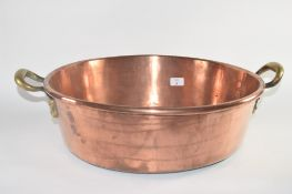 LARGE COPPER TRAY WITH BRASS HANDLES