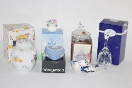 DUTCH DELFT CLOG, A BOXED WEDGWOOD JASPERWARE HEART SHAPED TRINKET BOX AND COVER AND A ROYAL DOULTON