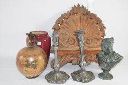 CERAMICS AND METAL WARES INCLUDING BUST OF A ROMAN EMPEROR, PAIR OF ART NOUVEAU STYLE METAL