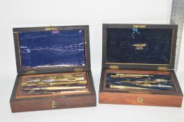 TWO BOXES OF MEASURING INSTRUMENTS, ONE MARKED LANCASTER & THORPE OPTICIANS, DERBY
