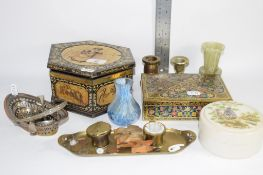 BOXES AND COPY OF A POT LID AND BASE, AND TWO SMALL PLATED SPOONS