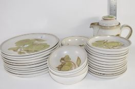 DINNER WARES COMPRISING PLATES, SIDE PLATES, SMALL BOWLS, BY DENBY