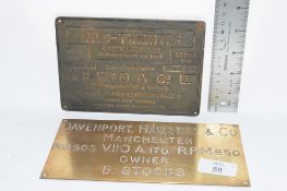 TWO METAL PLATES, ONE FOR WILD THWAITES MUCK SPREADER AND ONE ENTITLED DAVENPORT HACKER & CO