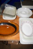 CERAMIC SERVING DISHES AND GLASS SERVING DISHES