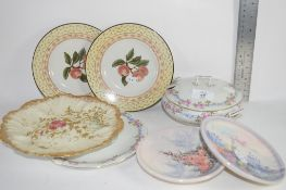 CERAMIC ITEMS INCLUDING A DISH AND COVER AND SOME SMALL PLATES, DECORATED WITH FRUIT