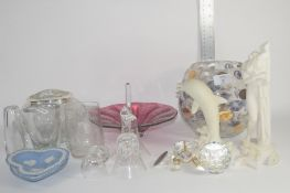 CERAMICS AND GLASS WARE INCLUDING MODEL OF A DOLPHIN AND TWO WEDGWOOD HEART SHAPED PIN DISHES