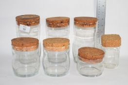 GLASS JARS WITH CORK STOPPERS