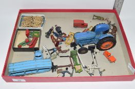 BOX CONTAINING METAL TOYS AND FIGURES, MAINLY FARMYARD INCLUDING TRACTOR AND TRAILER