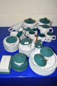 DENBY WARES, SOME SIGNED BY A COLLEGE, COMPRISING PLATES, SIDE PLATES, VARIOUS BOWLS AND COVERS,
