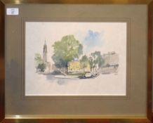 A D B, (20th century), Street scenes (possibly London), pair of pen, ink and watercolours, both