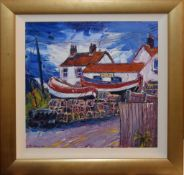 Paul Robinson (contemporary), Norfolk scene with fishing boats by a cafe, oil on canvas, signed