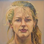 R Matthews (20th century), Portraits, pair of oils on board, both signed and dated 93, 29 x 29cm (