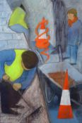 AR Dorothy Morton (1905-1999), Roadworkers, mixed media, signed lower left, 46 x 32cm