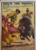 Coloured poster for Plaza de Toros Monumental - bullfighting, 72 x 54cm, unframed a/f