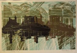 "AR Robert Barnes (born 1947), ""Coalbarge convoy"", coloured lithograph, signed, dated 73, numbered"