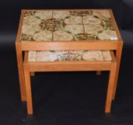 Two mid-century teak and tile topped coffee tables by Skovby Mobelfabrik, the largest 65cm wide (2)
