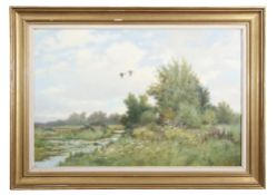 "AR Colin W Burns (born 1944), ""High Summer - Filby"", oil on canvas, signed lower right, 60 x 90cm."
