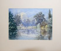 "Alexander Charles Winter (1887-1969), ""The Winter Garden - Hyde Park"", watercolour, signed lower"