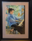 AR Dorothy Morton (1905-1999), Portrait of a young girl at a piano, watercolour, initialled and