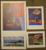 Andrea Bates (born 1943), Still Life studies and landscape, group of four coloured prints, all