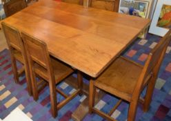 "Mid-century oak dining table and set of six chairs by Derek Slater ""Lizardman"", the table base and"