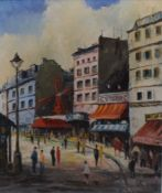 R A White (20th century), French street scene, oil on canvas, signed lower right, 39 x 29cm