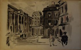 Modern School (20th century), Street scene with figures, pen, ink and wash, 20 x 33cm, unframed