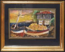 Russian School (20th century), Coastal scene, oil on paper, various inscriptions verso, 19 x 30cm