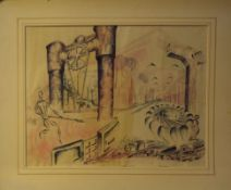 "C Jackson (20th century), ""Machinery"", pen, ink and watercolour, signed and inscribed with title"