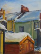 E Griggs (20th century), House in winter, oil on board, signed lower left, 44 x 24cm, together