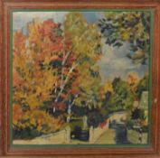 Modern British School (20th century), Landscape with road, oil on panel, 30 x 30cm
