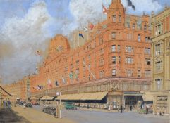 David Thomas, RIBA (contemporary), Harrods, pen, ink and watercolour, signed lower right, 25 x 35cm,