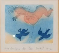 "Ellen Graubart (contemporary), ""Miss Goodyear"", coloured etching, signed, dated 1982 and inscribed"