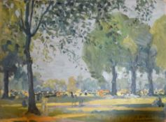 Albert Hindle, Kensington Gardens, oil on board, signed and inscribed with title lower right, 25 x