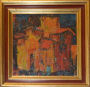 Peter Nikolov (20th century), House, oil on panel, signed lower right, 15 x 15cm