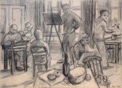 "Susan Lascelles (20th century), ""The Art Class"", pencil drawing, signed lower left dated Dec 1986"