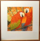 AR Frans Wesselmann (born 1953), Parrots, coloured etching, signed, numbered 47/50 and inscribed