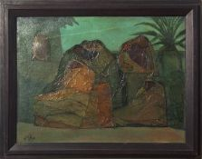 "•AR Faraj Abou (1921-1984), ""Women of the village"", oil on canvas, signed and dated 1970 lower left,"