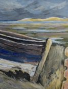 "M Haughton (20th Century), ""Old Boat, Morston Marsh"", oil on board, signed and dated 1998 to"