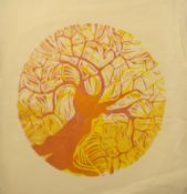 Joan Bloomfield (20th century), Tree, coloured lithograph, signed and dated May 74 in pencil to