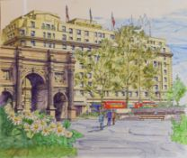 Modern School (20th century), Cumberland Hotel, pen, ink and watercolour, used for the Cumberland