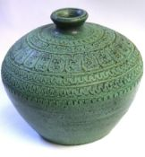 Art Pottery ovoid green glazed vase, 17cm high